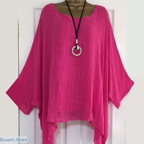 Solid Color Batwing Sleeve Loose Asymmetric Thin Fabric Shirt Sizes to 5XL - 200000346