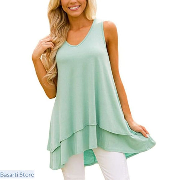 Solid Color Sleeveless V-Neck Casual Loose Blouse in 5 Colors - 200000346