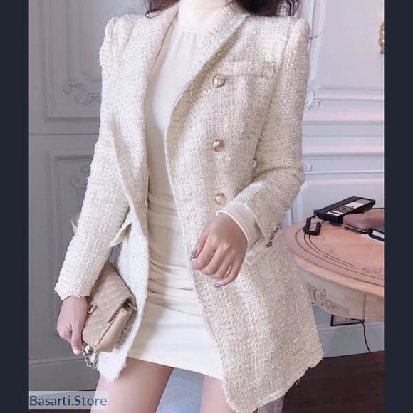 Sparkling Double Breasted Wool Blend Tweed Blazer - 200001914