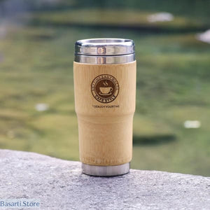 Stainless Steel and Bamboo Thermocup Drinking Travel Mug - 100003290