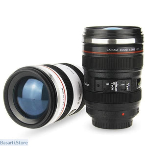 Stainless Steel Camera Lens Coffee Mug with Lid - 100003290