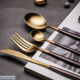 Stainless Steel Cutlery Dinnerware 24pcs Set - Brown Gold - 100003310