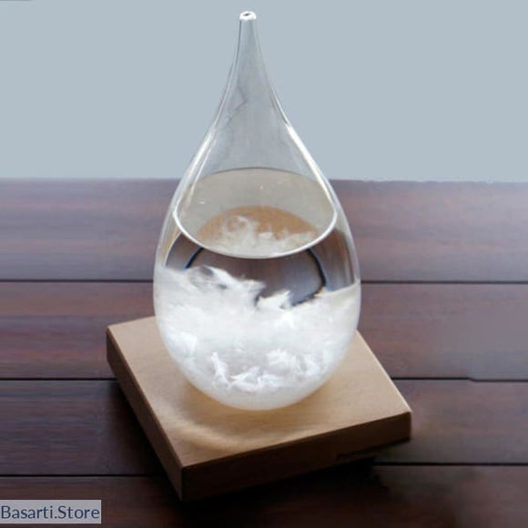 Storm Glass Bottle with Wood Base / Weather Forecast - A Modern Design for a great Home Decor - Decor Modern Design Novelties