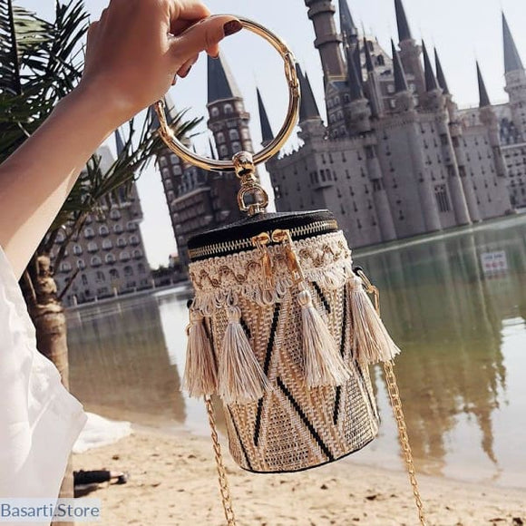 Straw Bag with Metal Ring Handle and Tassels - Straw Bag with Hand Metal Ring and Tassels