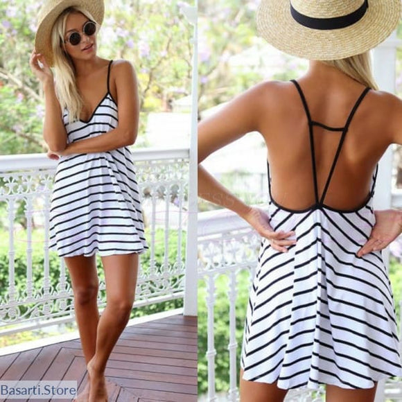 Striped Sleeveless Short Beach Dress - 200005118