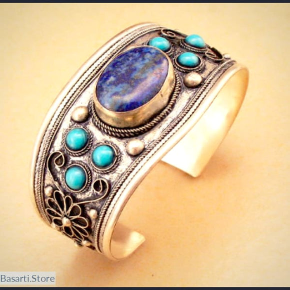 Stunning Tibetan Silver Cuff with Lapis Lazuli and Turquoise - tribal