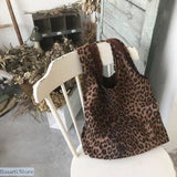 Suede Leopard Print Tote - Brownish - Women Bag