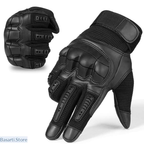 Tactical Rubber Hard Knuckle Full Finger Gloves - Black / L - 200000394