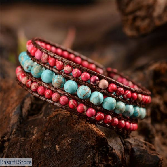 Three Layer Natural Stone Single Leather Wrap Bracelet - 200000147
