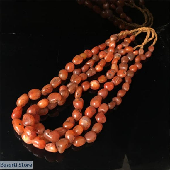 Tibet Old Red Carnelian Nugget Beads Necklace - 55cm 21inches - tribal necklace