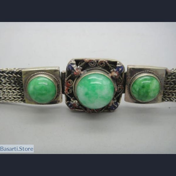 Tibetan Handcrafted Inlaid Bracelet with Green Jade - tribal