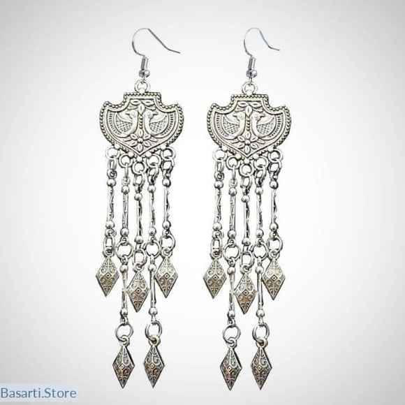 Tibetan Silver Peacock Carved Tribal Drop Earrings - tribal necklace