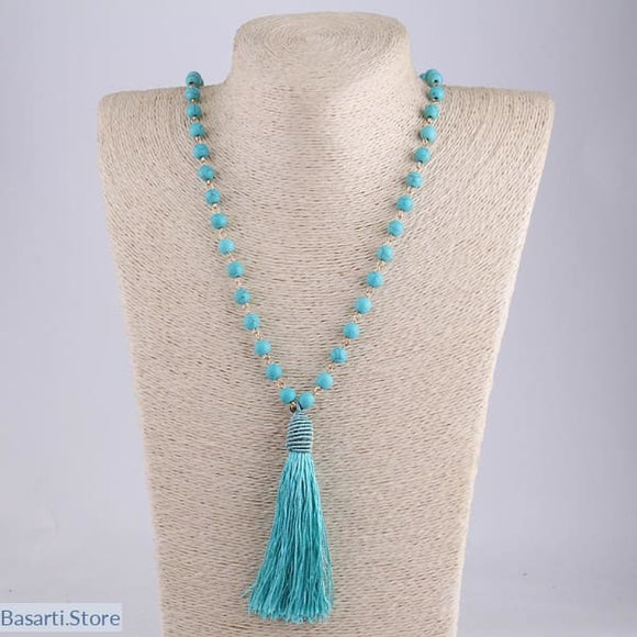 Turquoise Blue Stone Tassel Women Necklace - 200000162