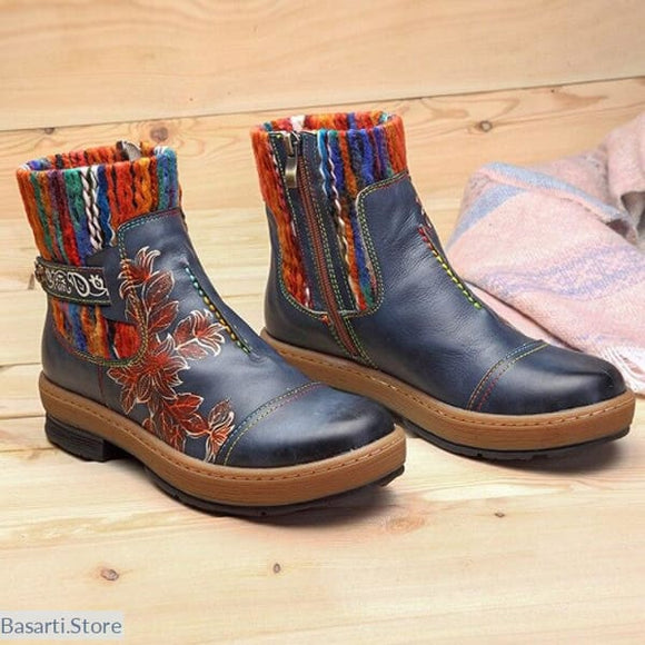 Unique Beautiful and Well Crafted Vintage Wool Knit Floral Leather Ankle Boots - 200000998
