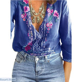 V-Neck Lace Floral Casual Long Sleeve Loose Summer Top - S / Blueberry Blue - 200000346
