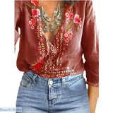V-Neck Lace Floral Casual Long Sleeve Loose Summer Top - S / Chestnut Red - 200000346