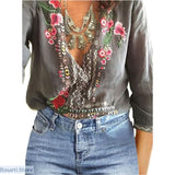 V-Neck Lace Floral Casual Long Sleeve Loose Summer Top - S / Gray - 200000346