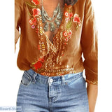 V-Neck Lace Floral Casual Long Sleeve Loose Summer Top - S / Tiger Orange - 200000346