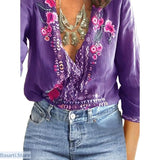 V-Neck Lace Floral Casual Long Sleeve Loose Summer Top - S / Viola Purple - 200000346