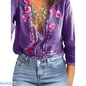 V-Neck Lace Floral Casual Long Sleeve Loose Summer Top - 200000346