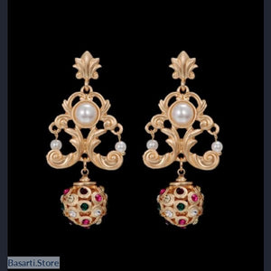 Vintage Baroque Drop Earrings with Simulated Pearl and Colorful Rhinestones