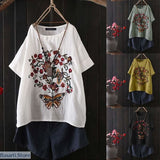 Vintage Floral Embroidery Womens Summer Short Sleeve Tunic - 200000791