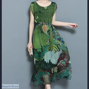 Vintage Floral O-Neck Short Sleeve Print Dress With Sashes Sizes S-4XL - 200000347