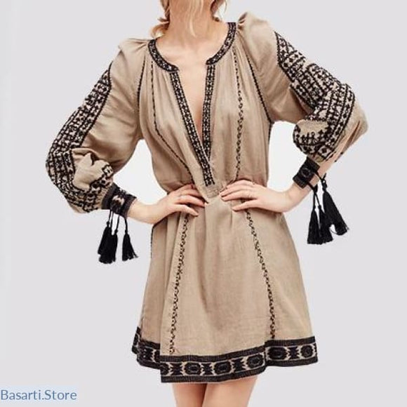 Vintage Long Sleeve Cotton Embroidery Boho Dress with Tassels - 200000347