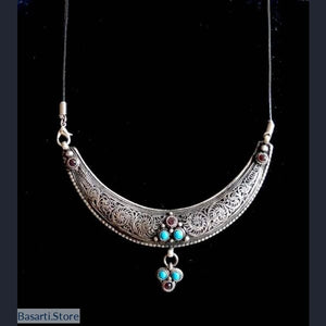 Vintage Moon Necklace Handmade in Nepal - Antique Silver Plated - tribal necklace