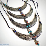 Vintage Moon Necklace Handmade in Nepal - tribal necklace