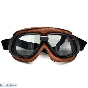 Vintage Motorcycle/Pilot Biker Leather Goggle With Smoking Lens - Biker Leather Goggle