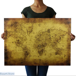 Vintage Nautical World Ocean Map Poster - 2209