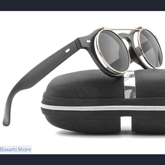 Vintage Round Flip Up Sunglasses for both Men/Women - Gift men