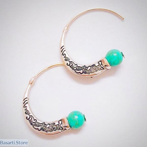 Vintage Thai Silver Spiral Earring - tribal earrings