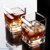 Whisky & Cigar Crystal Drinking Glass Square Swig Mug - Whisky & Cigar Crystal Drinking Glass
