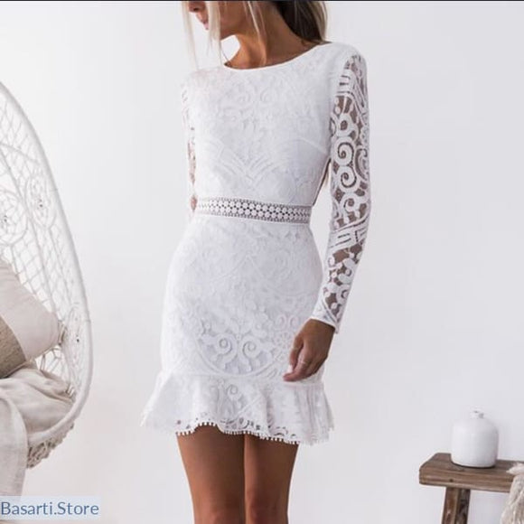 White Lace Long Sleeve Backless O-Neck Dress - 200000347