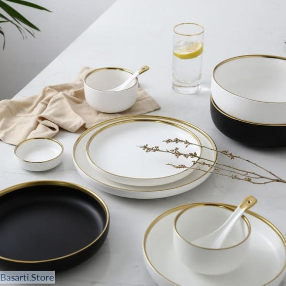 White or Black Gold Edged Ceramic Porcelain China - 127838004