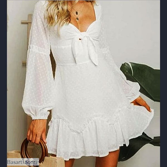 White Short Polka Dot Chiffon Long Sleeve Mini Dress - 200000347