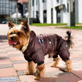 Winter Dog Padded Hooded Jacket Jumpsuit to keep your Dog warm in Winter. - Brown / 4XL - pet