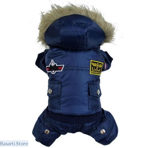 Winter Dog Padded Hooded Jacket Jumpsuit to keep your Dog warm in Winter. - pet
