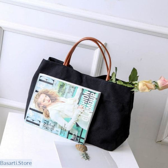 Woman Simple Large Capacity Summer Tote / Bag - 37x26x15cm / Black - Woman Simple Large Capacity Summer Tote