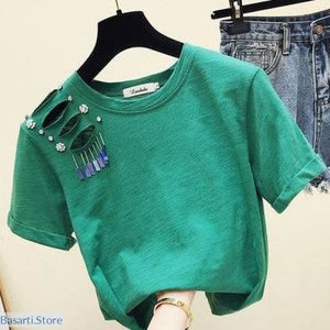 Womans Loose Fitting Hollow Hole T-shirt - S / Green - 200000791