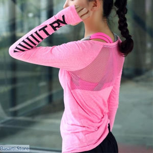 Women Breathable Sportswear T Shirt Yoga Top Quick-Dry
