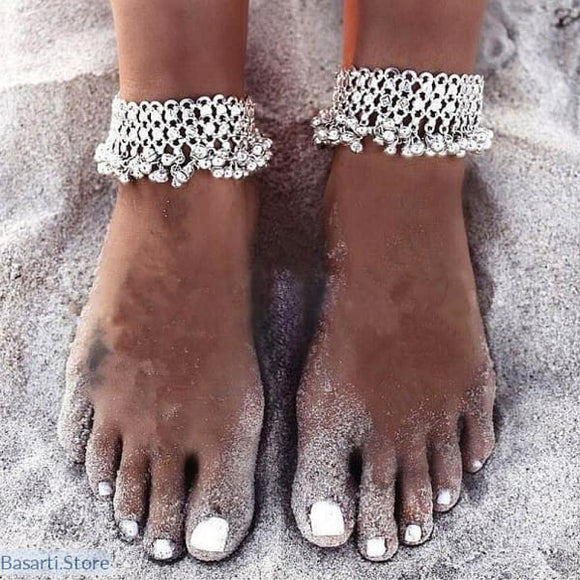 Womens Silver Chain Ankle Bracelet - As Shown - tribal anklet