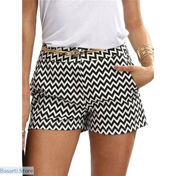 Womens Summer Black and White Mid Waist Shorts - 200000367