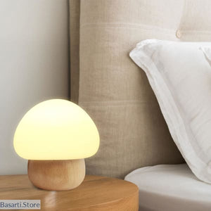 Wooden Mushroom Led Night Multicolor Light - Wooden Mushroom Led Night Lamp