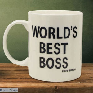 Worlds Best Boss White Mug with Middle Finger - 100003290