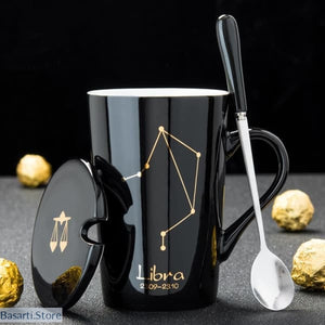 Zodiac Sign and Constellations Ceramic Coffee Mug with Spoon and Lid - 100003290