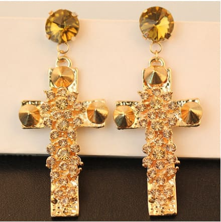 New Euramerican Palace Vintage Pop Baroque Style Brand Jewelry Rhinestone Red Gem Cross Earrings Pendientes Womens Accessories
