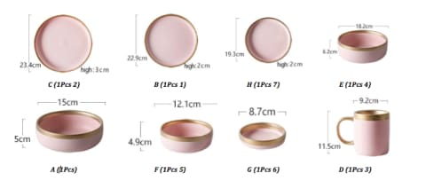 Matte Pink Ceramic With Powder Gold Border - European Style Tableware